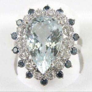 Aquamarine Ring w/Diamond & Sapphire Halo 14k WG